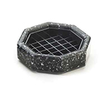 "Cal-Mil 310-4-31 4"" Octagon Stone Drip Tray w/ Removable Inner Tray, Black Ice"