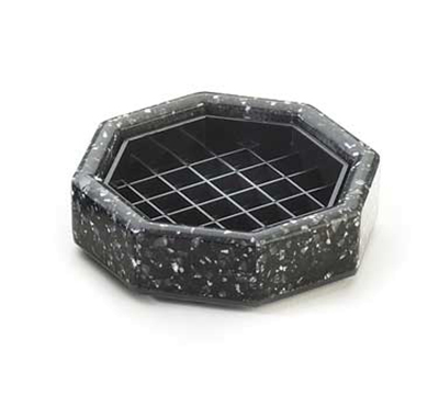 Cal-mil 310-4-31 4-in Octagon Stone Drip Tray w/ Removable Inner Tray, Black Ice