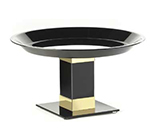 "Cal-Mil 319-12B7 Tall Pedestal, 12"" Diameter x 7"" High, Black w/ Gold Trim"