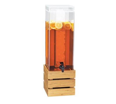 Cal-Mil 3301-3-60 3-gal Square Beverage Dispenser - Lid, Spigot, Acrylic, Bamboo