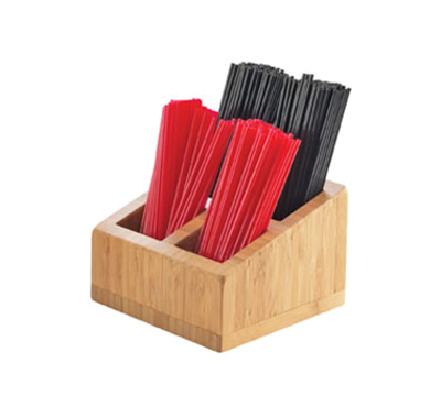 Cal-Mil 3307-60 Stir Stick Holder - 4-Compartments, Bamboo