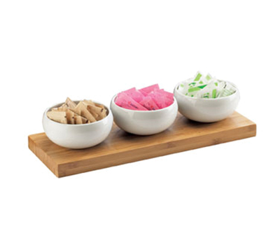 Cal-Mil 3314-5-60 Rectangular Condiment Tray - Porcelain, Bamboo