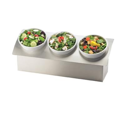 "Cal-Mil 3320-9-55 Rectangular Gourmet Bowl Display - 3-Wells, 28x10x9-1/2"", Melamine, Stainless Steel"