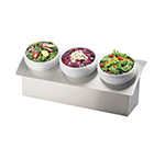 "Cal-Mil 3323-9-55 Bowl Display - 3-Wells, 28x10x9-1/2""  (3) Round Porcelain Bowls, Steel"