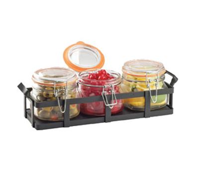 Cal-Mil 3335-13 Rustic Jar Condiment Display - 17-oz Glass Jars, Black