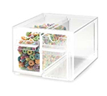Cal-Mil 385 Clear Topping Dispenser w/ 2-Notched Drawers, 7 x 8 x 5-in High