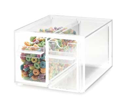 Cal-Mil 385 Clear Topping Dispenser w/ 2-Notched Drawers, 7x8x5""