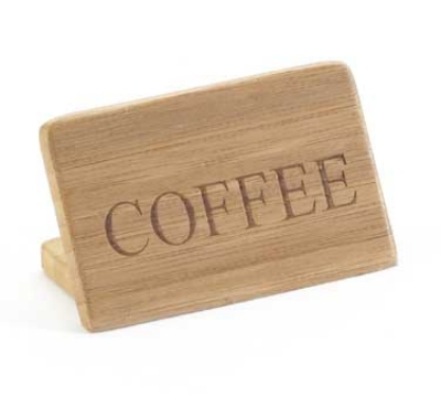 "Cal-Mil 606-2 ""Decaf"" Table Sign - 2"" x 3"", Bamboo"