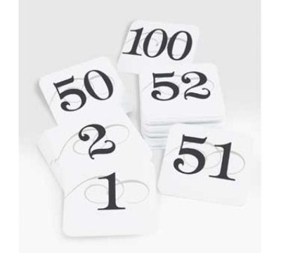 "Cal-Mil 671-1 Tabletop Number Cards - #1-50, 3.75"" x 4"", White/Black"