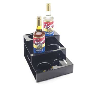 Cal-Mil 677 3-Tier Bottle Organizer w/ 6-Bottle Capacity, Black Acrylic
