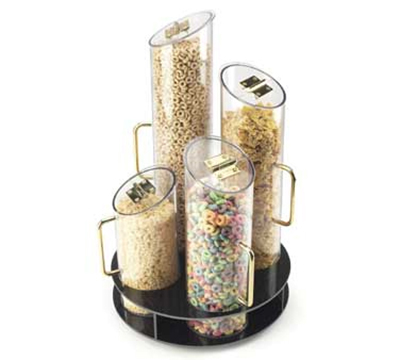 Cal-mil 723-53 4-Cylinder Turn Table Cereal Dispenser w/ Wooden Base, 900-cu in
