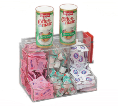 "Cal-Mil 786 Clear Coffee Condiment Center w/ 3-Sections, 13 x 8 x 9"" High"