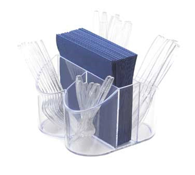 Cal-mil 910 Clear Plastic Silverware & Napkin Caddy, 8 x 8 x 5-in High