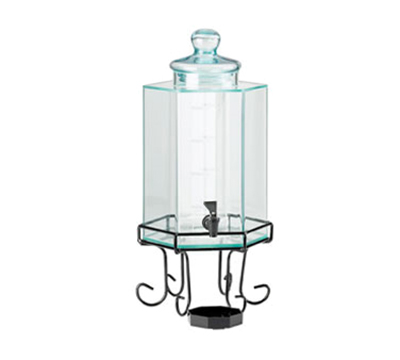Cal-Mil 932-3 3-Gallon Octagon Beverage Dispenser w/ Ice Chamber & Black Base