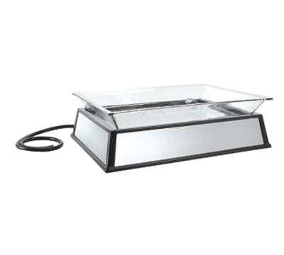 "Cal-Mil IP101-110 Rectangular Ice Display Pedestal - Ice Pan, Drain, 27x19x10"", Black, 110v"