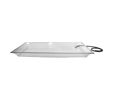 "Cal-Mil IP252 Large Rectangular Ice Display Pan - Drain, Hose, 25x50-1/2x4"", Acrylic, Clear"