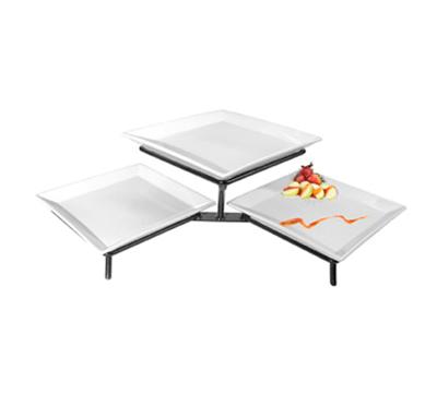 Cal-Mil PP1600-13 2-Tier Square Plate Display - Porcelain, Black