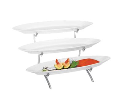 Cal-Mil PP2200-39 3-Tier Oval Platter Display - Porcelain, Platinum