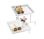 Cal-mil PP2322-39 2-Tier Square Gourmet Prestige Offset Display - Porcelain, Platinum