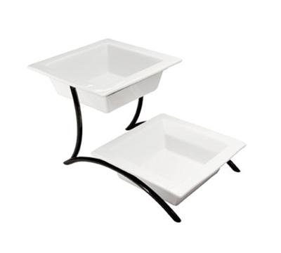 Cal-Mil PP302-13 2-Tier Square Bowl Display - Porcelain, Black