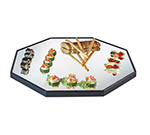 "Cal-Mil RR241 24"" Octagon Gourmet Display Mirror Tray - Black Acrylic Trim, Glass"