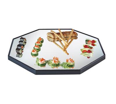 "Cal-Mil RR241 24"" Octagon Gourmet Display Mirror Tray - Black Acrylic Trim, Glass"