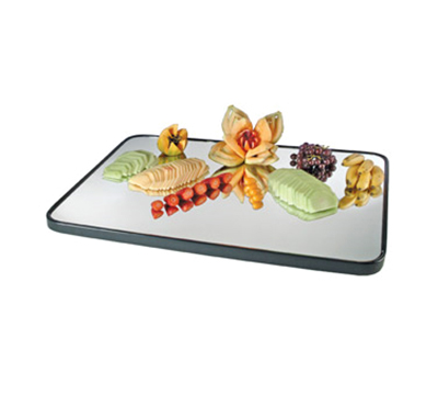"Cal-Mil RR323 Rectangular Gourmet Display Mirror Tray - 24x32"", Glass, Black"