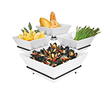 Cal-Mil SR1010-13 3-Tier Gourmet Quad Bowl Display - Melamine Bowls, Black