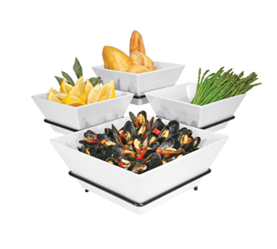 Cal-Mil SR1010-13 3-Tier Gourmet Quad Bowl Display - Melamine Bowls, Black