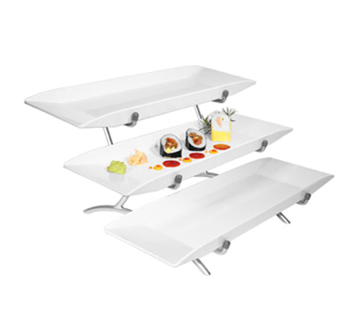 Cal-Mil SR1033-39 3-Tier Rectangular Sierra Tier Display Set - Melamine, Platinum