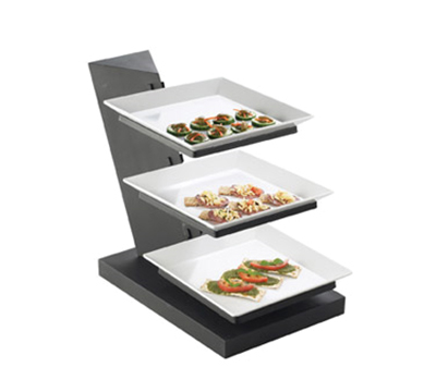 Cal-Mil SR1164-13 3-Tier Square Platter Display - Angled, Melamine, Black