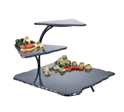 "Cal-Mil SS800-31 3-Tier Gourmet Faux Stone Serving Display - 20x30x18"", Acrylic, Black"