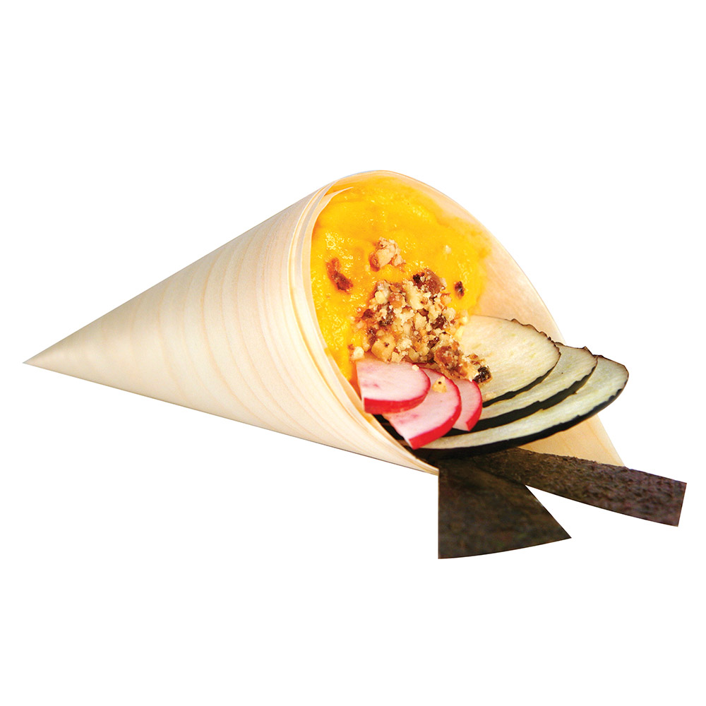 Cal-Mil CH107 Gourmet Display Serving Cone - Woodgrain