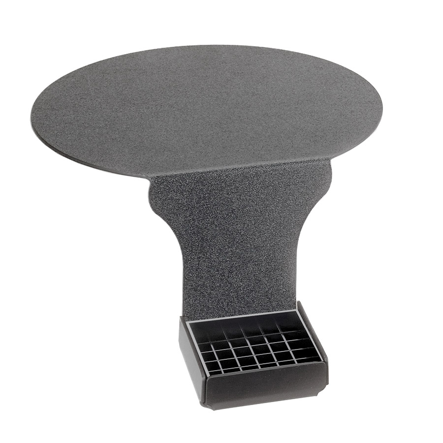 "Cal-Mil DM005 Drip Tray w/ Round Base Support & 6"" Drop, Black Plastic"