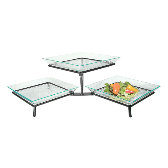 Cal-Mil GL1600-13 3-Tier Square Glacier Tray Display - Green Acrylic, Black