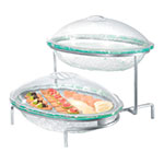 Cal-Mil GL2400-39 2-Tier Oval Glacier Bowl Display - Green Acrylic, Platinum
