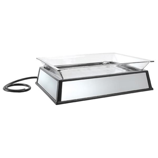 "Cal-Mil IP101-110 Rectangular Ice Display Pedestal - Ice Pan, Drain, 27x19x10"", Black, 110v"