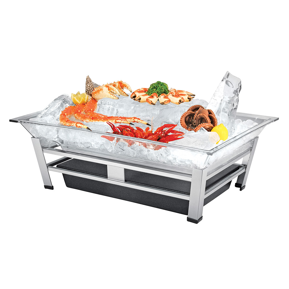 "Cal-Mil IP1020-39 Rectangular Ice Display Pedestal - Ice Pan, Drain, 27x19x10"", Platinum"