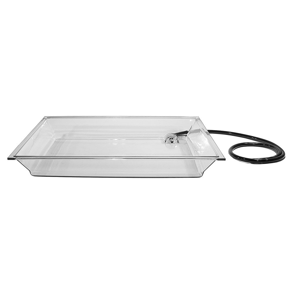 "Cal-Mil IP152 Small Rectangle Ice Display Pan Fits IP102 - Drain, Hose, 20-1/4x28-1/2x4"", Clear"