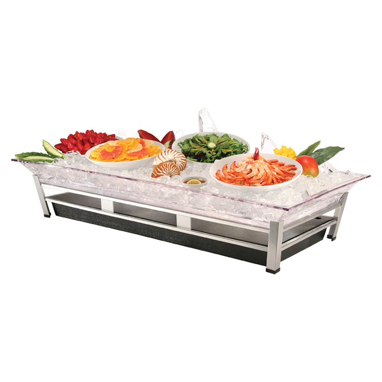"Cal-Mil IP2020-39 Large Ice Display Pedestal - Ice Pan, Water Containment, Drain, 48x24x10"", Silver"