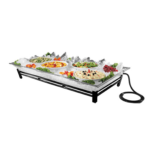 "Cal-Mil IP202-13 Rectangular Ice Display Pedestal - Ice Pan, Drain, 24x48x8"", Black"