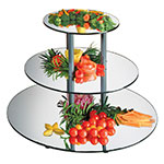 "Cal-Mil MT240 3-Tier Round Gourmet Mirror Riser - Mirror, 24x18-3/4"", Black, Acrylic"
