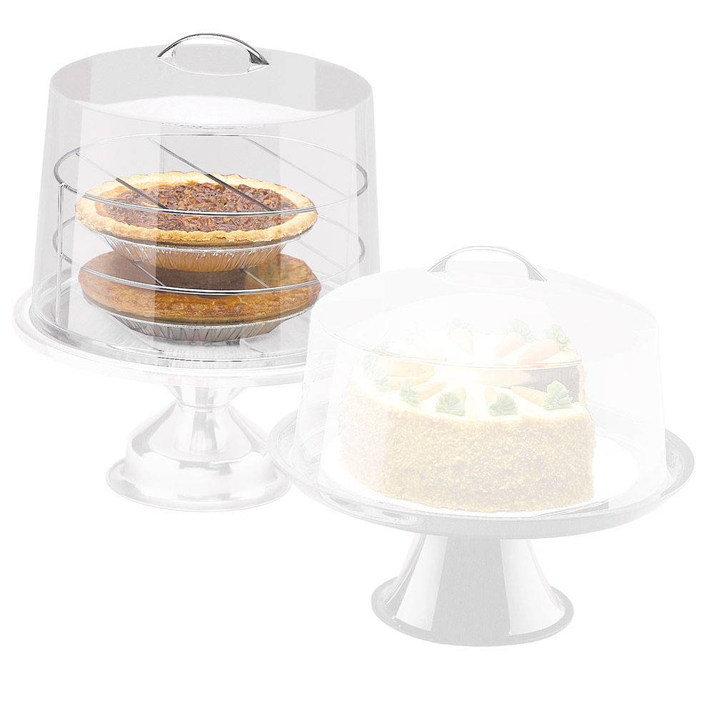 "Cal-Mil P311 12"" Round Clear Acrylic Pie Cover w/ Flat Top, 9"" High"