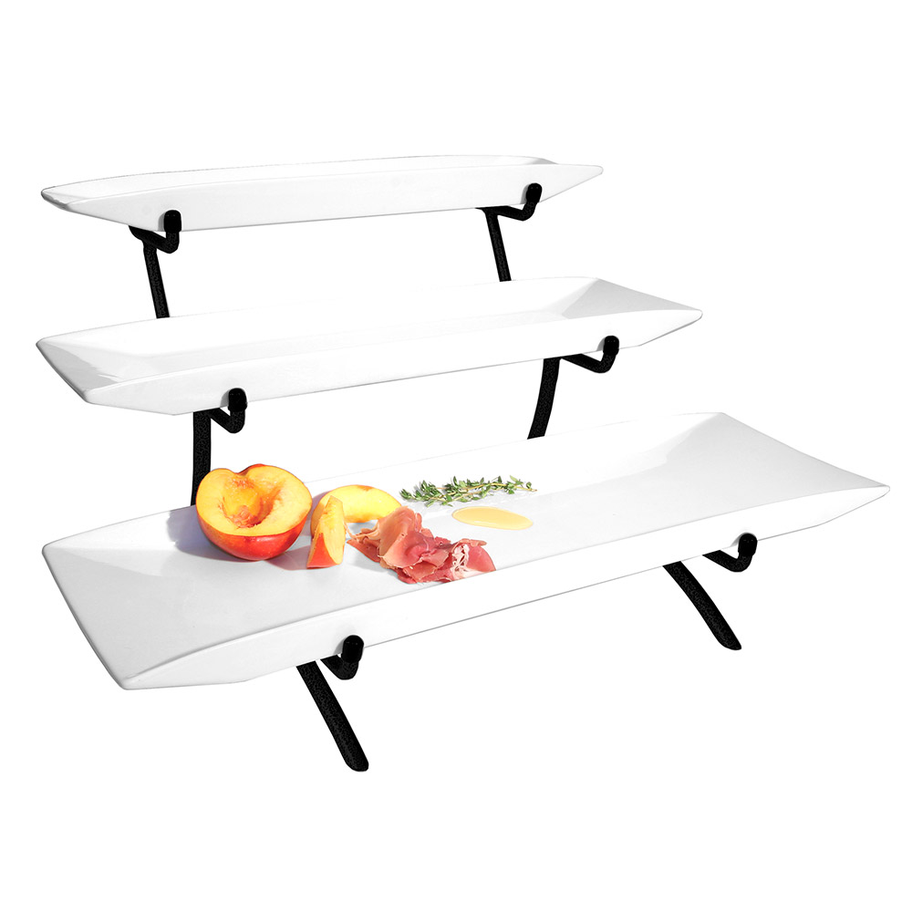 "Cal-Mil PP103-13 3-Step Rectangular Platter Display - 22x12x12"", Porcelain, Black"