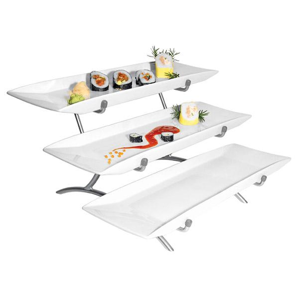 Cal-Mil PP1033-39 3-Step Rectangular Platter Display - Porcelain, Platinum