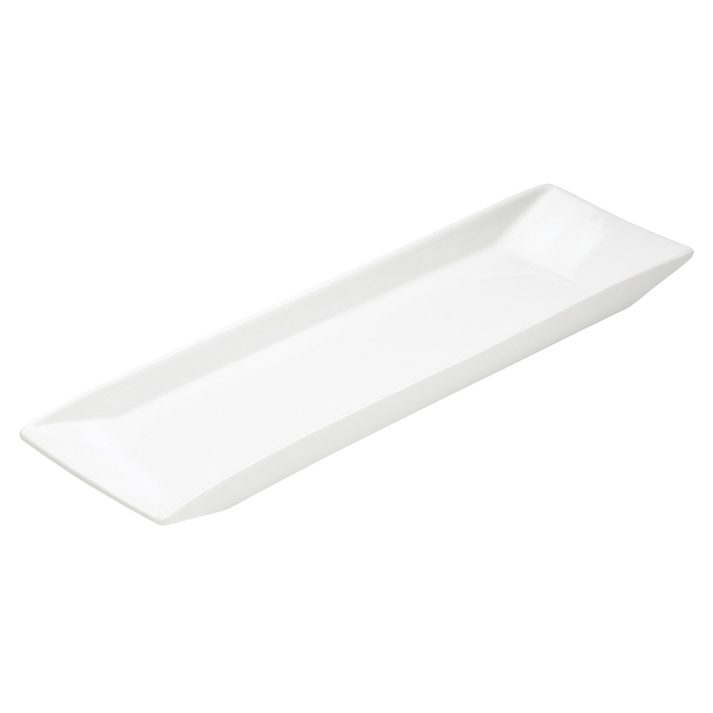 "Cal-Mil PP151 20"" x 5"" Gourmet Display Platter - Rectangular, Bright White Porcelain"