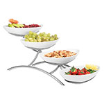 Cal-Mil PP2000-39 4-Step Oval Bowl Display - Porcelain, Platinum
