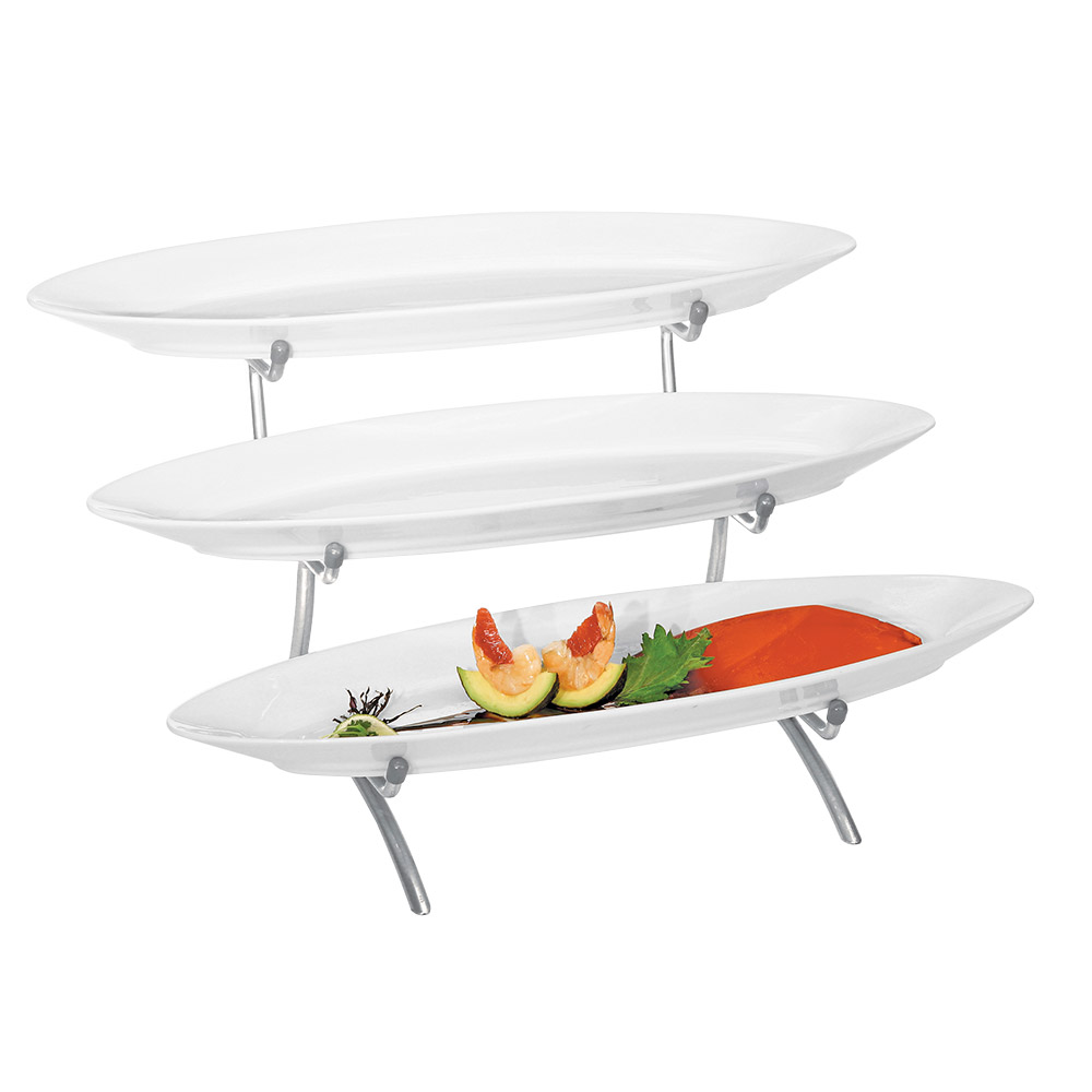 Cal-Mil PP2200-39 3-Tier Oval Platter Display - Porcelain, Platinum