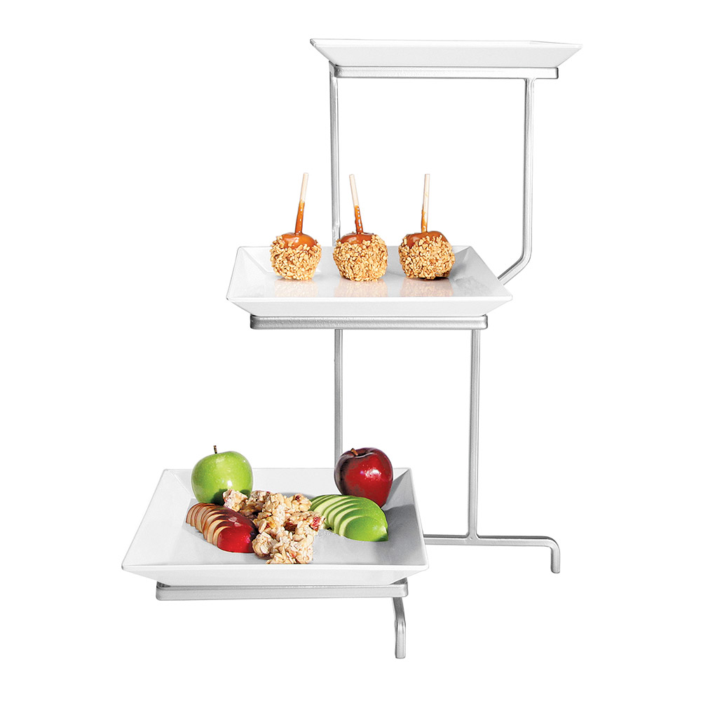 Cal-Mil PP2301-39 3-Tier Square Offset Plate Display - Porcelain, Platinum