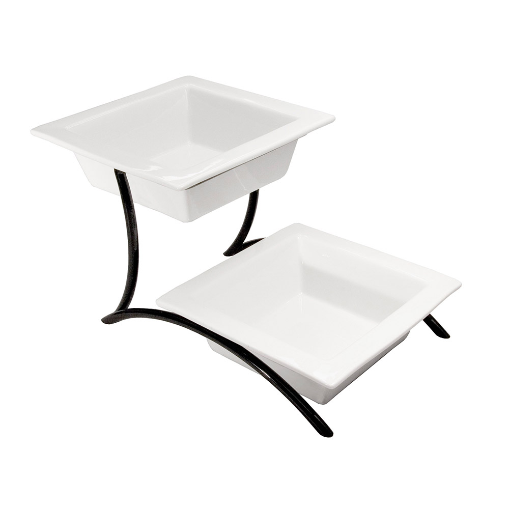 Cal-Mil PP302-13 2-Tier Square Bowl Display - Porcelain, Black